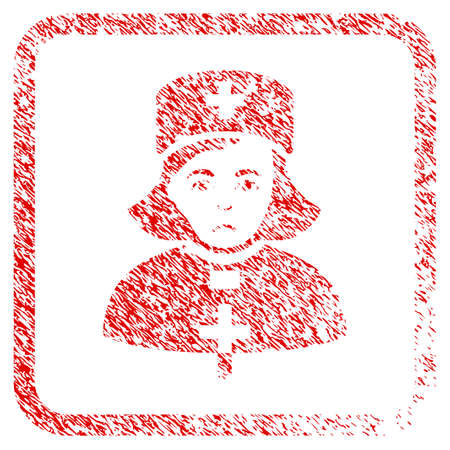 Church Female Doctor rubber seal stamp imitation. Person face has dolor emotions. Scratched red sticker of church female doctor.