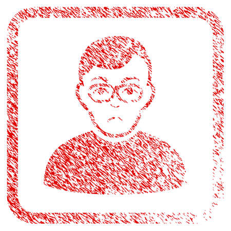 Downer rubber seal stamp imitation. Human face has affliction emotion. Scratched red sticker of downer. Icon symbol with grunge design and unclean texture in rounded square.
