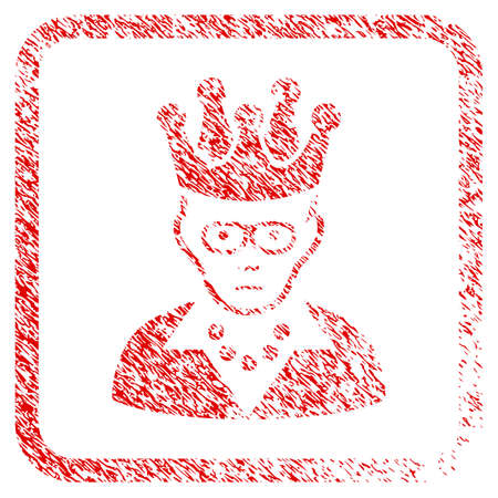 Queen rubber seal stamp imitation. Human face has sad sentiment. Scratched red stamp imitation of queen. Icon symbol with grunge design and unclean texture in rounded rectangle.