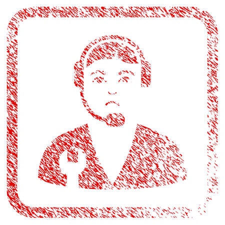 Service Operator rubber seal stamp watermark. Human face has sad emotions. Scratched red emblem of service operator. Icon symbol with grunge design and dirty texture in rounded squared frame.