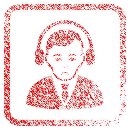 Radio Manager rubber seal stamp imitation. Person face has grief emotion. Scratched red stamp imitation of radio manager.