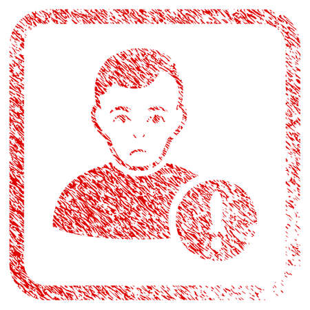 User Danger rubber seal stamp watermark. Person face has stress emotion. Scratched red sticker of user danger. Icon symbol with grunge design and dirty texture in rounded square.