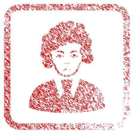 Clerk Woman rubber seal stamp watermark. Human face has grief emotions. Scratched red sticker of clerk woman. Icon symbol with grunge design and dust texture inside rounded square.