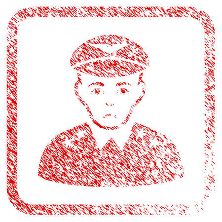 Military Pilot Officer rubber seal stamp watermark. Person face has unhappy mood. Scratched red stamp imitation of military pilot officer.