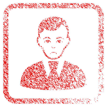 Clerk Guy rubber seal stamp imitation. Human face has pitiful sentiment. Scratched red stamp imitation of clerk guy.