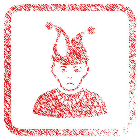 Fool rubber seal stamp imitation. Person face has sadness feeling. Scratched red sticker of fool. Icon symbol with grunge design and dust texture inside rounded square. Stock Photo