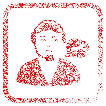 Support Center Operator rubber seal stamp watermark. Person face has sadly expression. Scratched red stamp imitation of support center operator.