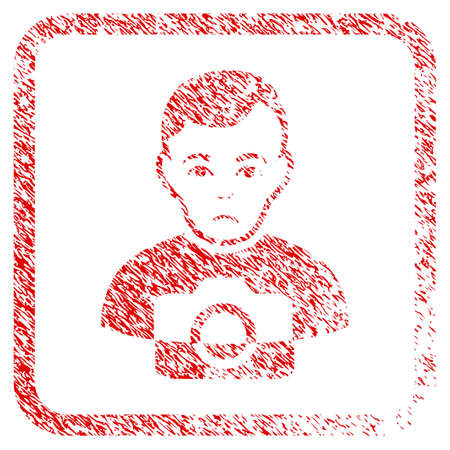 Photographer rubber seal stamp imitation. Human face has dolor feeling. Scratched red sticker of photographer. Icon symbol with grunge design and dirty texture inside rounded frame. Stock Photo
