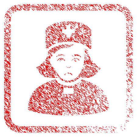Church Female Doctor rubber seal stamp imitation. Person face has affliction expression. Scratched red sign of church female doctor.