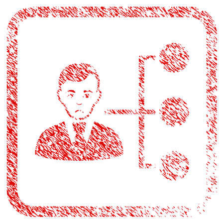 Distribution Manager rubber seal stamp imitation. Human face has sad expression. Scratched red emblem of distribution manager. Stock Photo