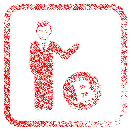 Bitcoin Businessman rubber seal stamp watermark. Person face has affliction emotion. Scratched red sign of bitcoin businessman.