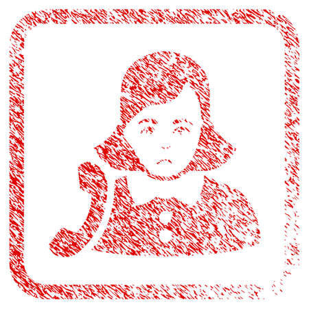 Receptionist Woman rubber seal stamp imitation. Human face has sadly emotions. Scratched red emblem of receptionist woman.