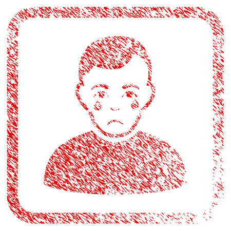 Crying Boy rubber seal stamp imitation. Human face has unhappy feeling. Scratched red stamp imitation of crying boy. Icon symbol with grunge design and dust texture in rounded square. Stock Photo