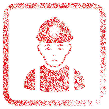 Miner rubber seal stamp imitation. Human face has depressed emotion. Scratched red stamp imitation of miner. Icon symbol with grunge design and dust texture in rounded rectangle. Stock Photo
