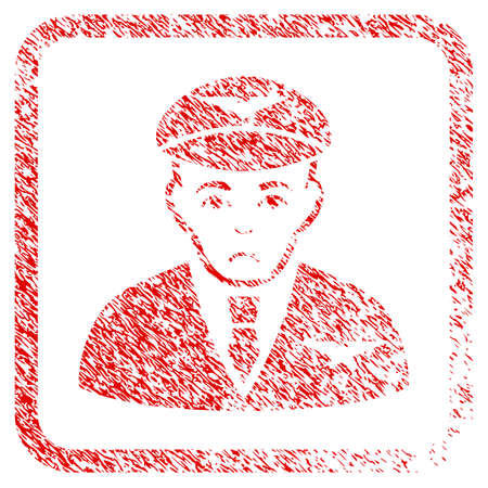 Pilot rubber seal stamp imitation. Person face has depressed emotion. Scratched red sticker of pilot. Icon symbol with grunge design and dust texture inside rounded square.