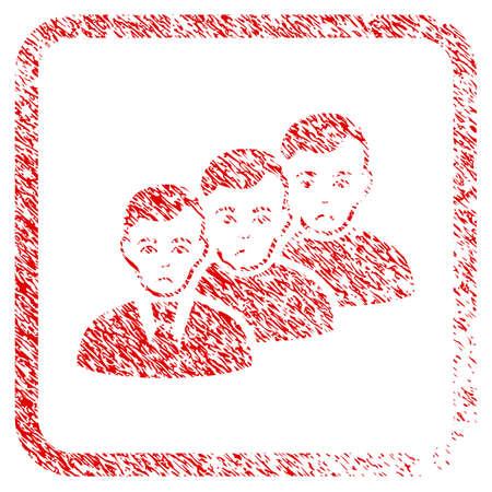 Men Queue rubber seal stamp watermark. Human face has dolour mood. Scratched red sign of men queue. Icon symbol with grunge design and dust texture in rounded rectangle.