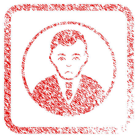 Rounded Gentleman rubber seal stamp watermark. Person face has sadness mood. Scratched red emblem of rounded gentleman.