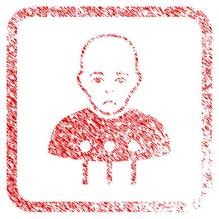 Cyborg Interface rubber seal stamp imitation. Person face has sorrow sentiment. Scratched red sticker of cyborg interface. Icon symbol with grunge design and unclean texture in rounded square.