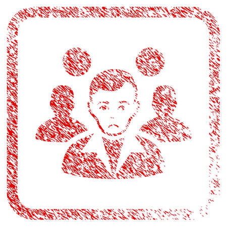 Staff Leader rubber seal stamp watermark. Human face has sadness feeling. Scratched red stamp imitation of staff leader. Stock Photo
