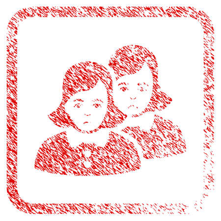 Women rubber seal stamp watermark. Person face has depression emotion. Scratched red stamp imitation of women. Icon symbol with grunge design and corrosion texture inside rounded squared frame.