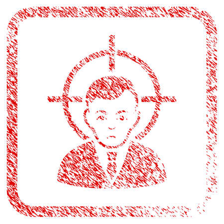 Victim Businessman rubber seal stamp imitation. Person face has depressed feeling. Scratched red sticker of victim businessman.
