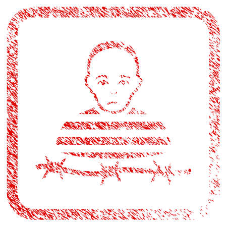 Isolated Prisoner rubber seal stamp imitation. Human face has grief expression. Scratched red sticker of isolated prisoner. Icon symbol with grunge design and dust texture inside rounded frame.