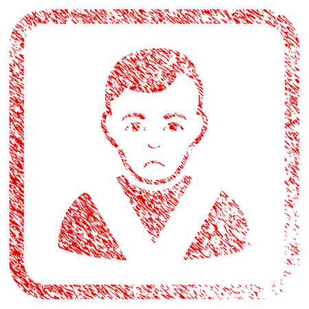 Awarded Man rubber seal stamp watermark. Human face has sorrow expression. Scratched red sign of awarded man. Icon symbol with grunge design and dust texture inside rounded square. Stock Photo