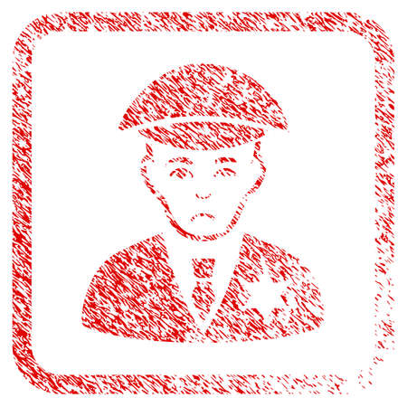 Sheriff rubber seal stamp watermark. Human face has stress emotions. Scratched red sign of sheriff. Icon symbol with grunge design and dirty texture inside rounded frame. Reklamní fotografie