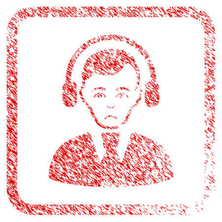Radio Operator rubber seal stamp imitation. Person face has sadly emotions. Scratched red stamp imitation of radio operator.
