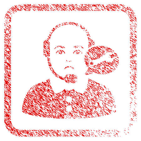 Service Center Lady Operator rubber seal stamp watermark. Human face has unhappy feeling. Scratched red stamp imitation of service center lady operator.