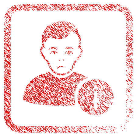 User Info rubber seal stamp imitation. Human face has sorrow emotion. Scratched red emblem of user info. Icon symbol with grunge design and dirty texture inside rounded square frame. Stock Photo