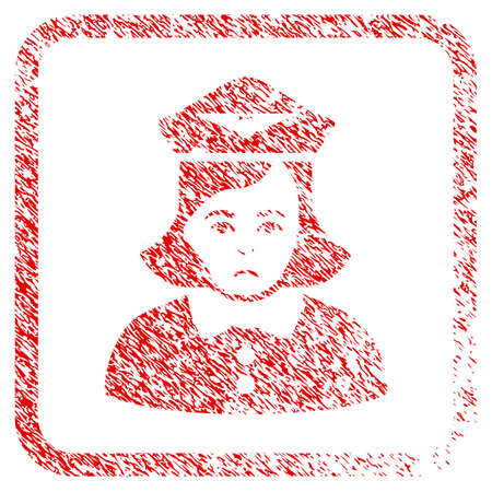 Airline Stewardess rubber seal stamp watermark. Person face has sorrow emotion. Scratched red stamp imitation of airline stewardess.
