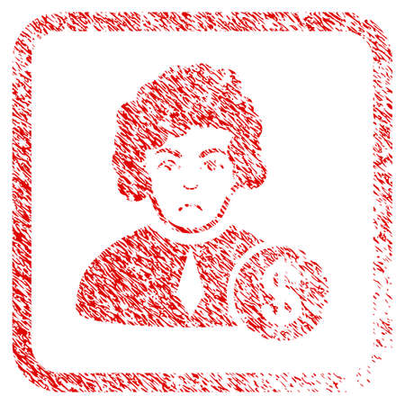 Corrupt Judge rubber seal stamp watermark. Human face has dolour expression. Scratched red sticker of corrupt judge. Icon symbol with grunge design and dirty texture in rounded squared frame.