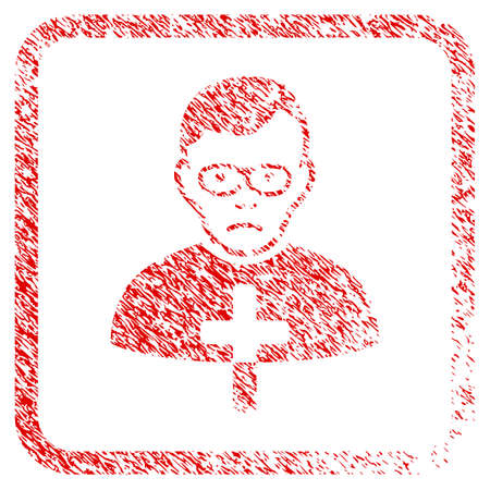 Catholic Shepherd rubber seal stamp imitation. Human face has sadly emotion. Scratched red stamp imitation of catholic shepherd.