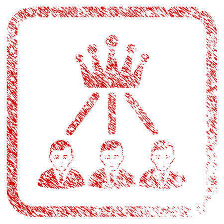 Hierarchy Men rubber seal stamp imitation. Person face has desperate sentiment. Scratched red sign of hierarchy men. Icon symbol with grunge design and corrosion texture in rounded square.