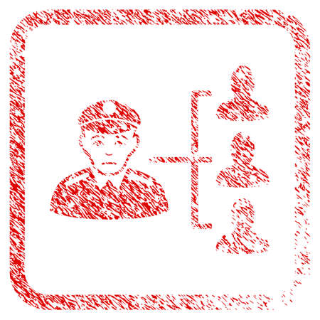 Officer Subordinates rubber seal stamp watermark. Person face has mourning sentiment. Scratched red sign of officer subordinates.