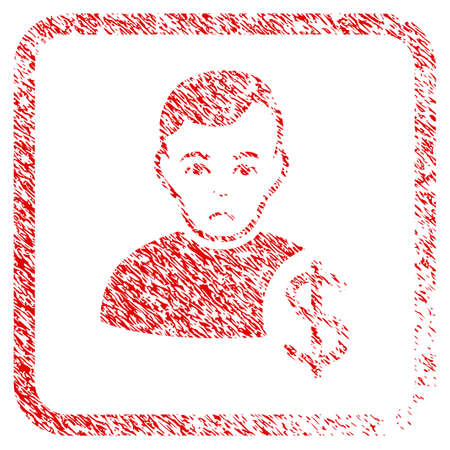 User Dollar rubber seal stamp imitation. Human face has sadly expression. Scratched red sign of user dollar. Icon symbol with grunge design and corrosion texture inside rounded square frame.