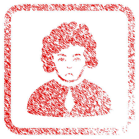 Judge rubber seal stamp imitation. Human face has desperate emotions. Scratched red stamp imitation of judge. Icon symbol with grunge design and dust texture inside rounded squared frame. Stock Photo