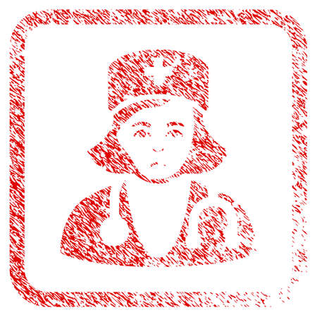 Physician Lady rubber seal stamp imitation. Human face has unhappy emotions. Scratched red stamp imitation of physician lady. Stock Photo