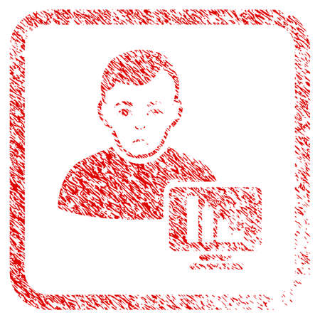 Stock Trader rubber seal stamp imitation. Human face has sadly mood. Scratched red sign of stock trader. Icon symbol with grunge design and unclean texture in rounded square frame. Reklamní fotografie