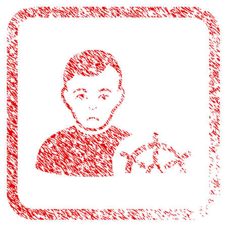 Captain rubber seal stamp watermark. Human face has affliction sentiment. Scratched red stamp imitation of captain. Icon symbol with grunge design and dust texture inside rounded square frame.