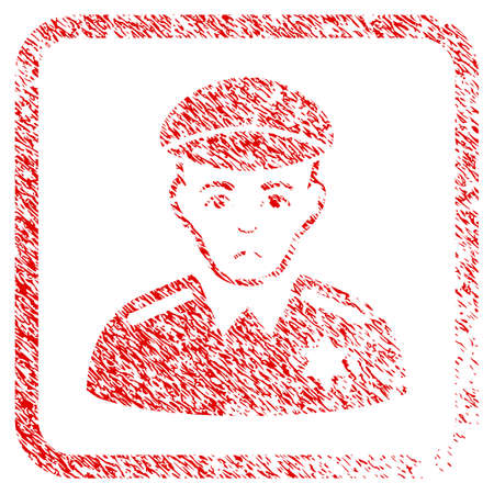 Sheriff rubber seal stamp imitation. Human face has dolour feeling. Scratched red sticker of sheriff. Icon symbol with grunge design and corrosion texture inside rounded square frame.