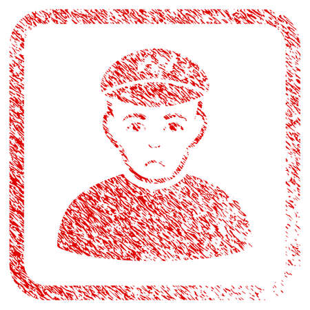Taxi Driver rubber seal stamp watermark. Person face has sad feeling. Scratched red sticker of taxi driver. Icon symbol with grunge design and corrosion texture inside rounded square frame.
