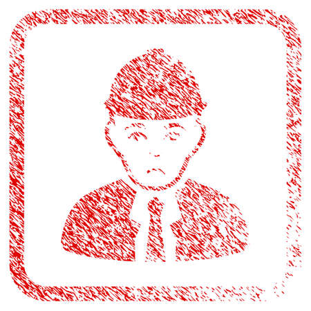 Engineer rubber seal stamp imitation. Person face has unhappy emotion. Scratched red stamp imitation of engineer. Icon symbol with grunge design and unclean texture in rounded square.