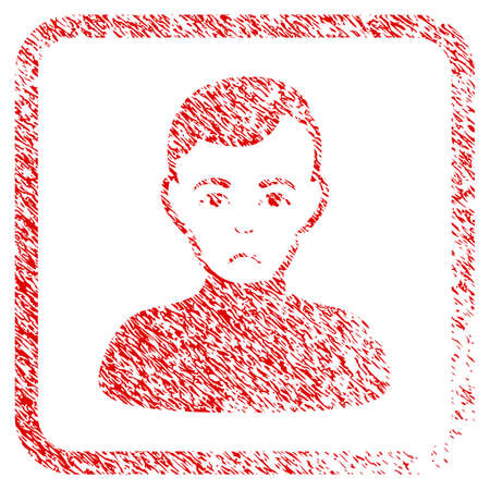 Boy rubber seal stamp watermark. Person face has sorrow mood. Scratched red stamp imitation of boy. Icon symbol with grunge design and dust texture in rounded square frame.