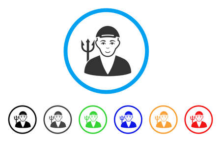 Satan rounded icon. Style is a flat satan gray symbol inside light blue circle with black, gray, green, blue, red, orange color versions. Glad satan vector pictogram. Guy face has joy mood.