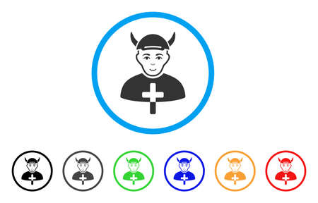 Priest Devil rounded icon. Style is a flat priest devil grey symbol inside light blue circle with black, gray, green, blue, red, orange variants. Glad priest devil vector pictograph. Illustration