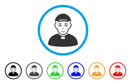 Catholic Priest rounded icon. Style is a flat catholic priest gray symbol inside light blue circle with black, gray, green, blue, red, orange color versions.