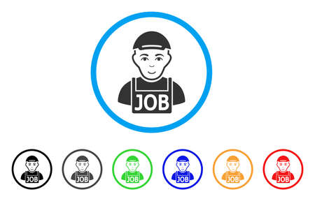 Jobless rounded icon. Style is a flat jobless grey symbol inside light blue circle with black, gray, green, blue, red, orange versions. Smiling jobless vector pictograph.