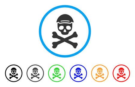 Mortal Skull rounded icon. Style is a flat mortal skull gray symbol inside light blue circle with black, gray, green, blue, red, orange versions. Joy mortal skull vector icon. Human face has joy mood. Illustration
